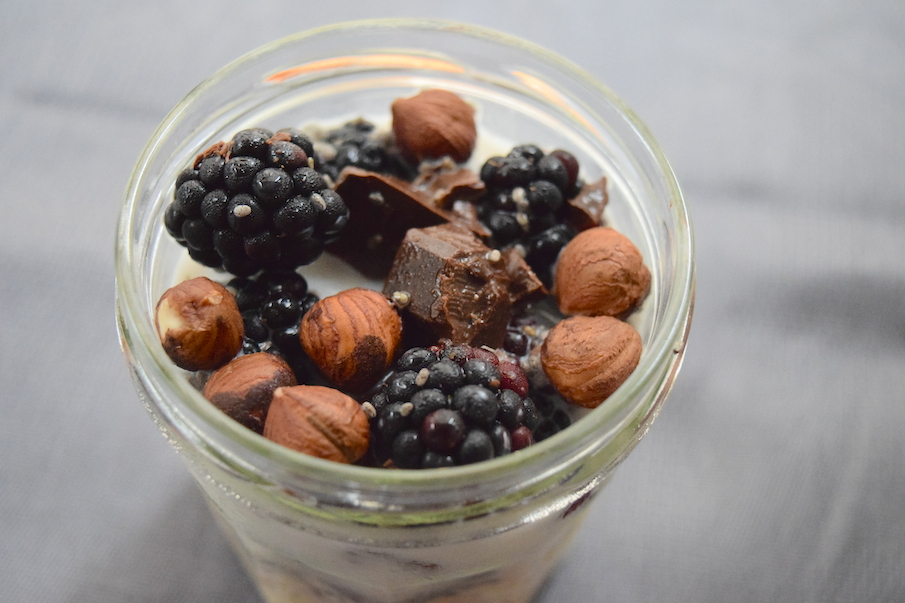 Overnight oats with chocolate, blackberry and hazelnuts